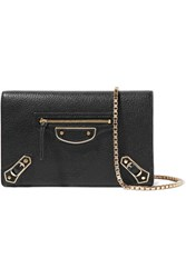 Balenciaga Metallic Edge Chain Textured Leather Wallet Black