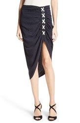 Veronica Beard Women's Marlow Ruched Lace Up Skirt Navy White Stripes