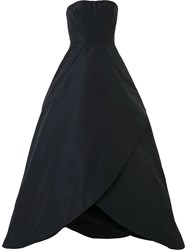 Zac Posen Strapless Ball Gown Women Silk Polyester 8 Black