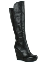Daniel Wiser Leather Knee High Boots Black