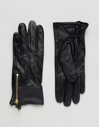 Oasis Real Leather Gloves With Patch Detail Black