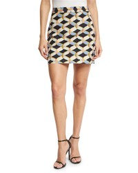 Milly Chain Print Faille Miniskirt Black