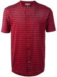 Lanvin Striped Button Down T Shirt Men Cotton L Red