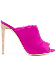 Giuseppe Zanotti Design Frayed Stiletto Mules Pink And Purple