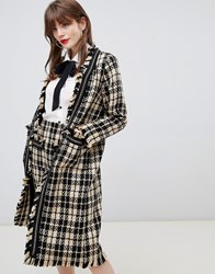 Darling Textured Checked Longline Jacket Black Yellow