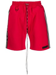 Represent Logo Band Track Shorts Red