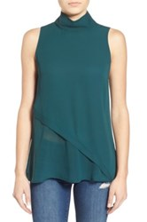 Leith Mock Neck Sleeveless Top Green