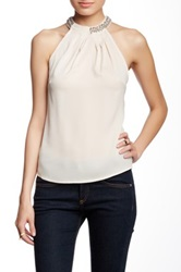 Blvd Embellished Sleeveless Blouse Beige