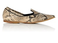 Dries Van Noten Snakeskin Stamped Leather Loafers Camel