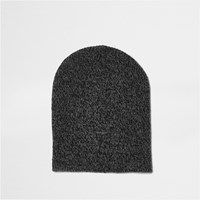 River Island Mens Grey Slouch Beanie Hat