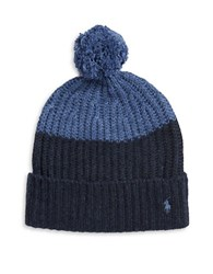 Polo Ralph Lauren Colorblock Knit Pom Hat Indigo Charcoal