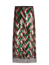 Gucci Sequin Embellished Chevron Midi Skirt Red Multi