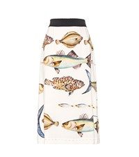 Dolce And Gabbana Fish Print Pencil Skirt With Bejeweled Buttons Multicoloured