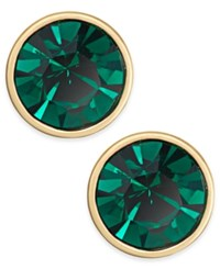 Kate Spade New York Gold Tone Green Crystal Stud Earrings Emerald