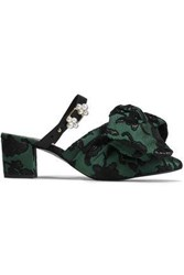 Mother Of Pearl Woman Ivy Leather Trimmed Bow Embellished Jacquard Mules Forest Green