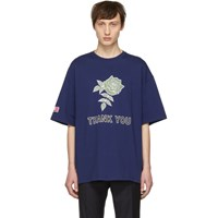 Lanvin Blue Oversized 'Thank You' Rose T Shirt