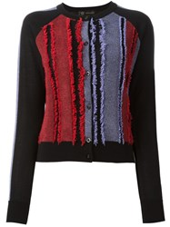 Versace Frayed Panel Cardigan Black