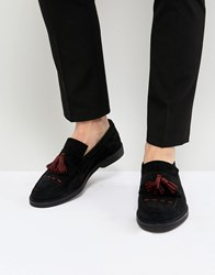 House Of Hounds Dexie Suede Tassel Loafers Black