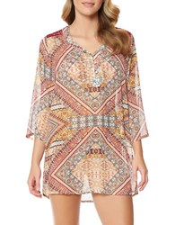 Jessica Simpson Printed Lace Back Cover Up Spice