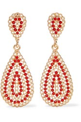Kenneth Jay Lane Gold Tone Faux Coral Earrings