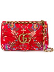 Gucci Floral Jacquard Gg Marmont Shoulder Bag Women Silk Brass One Size Red