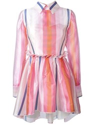 Daizy Shely Striped Button Back Dress Pink And Purple