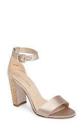 Pelle Moda Women's Bonnie 3 Embellished Ankle Strap Sandal Platinum Gold Leather