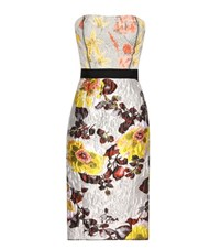 Oscar De La Renta Silk And Wool Jacquard Dress Metallic