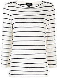 A.P.C. Striped Knitted Top White