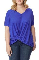 Rebel Wilson X Angels Plus Size Knot V Neck Tee Blue Ivy