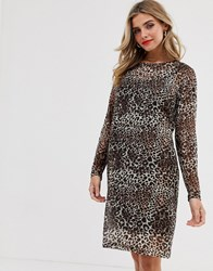 Pieces Leopard Print Mesh Sleeve Dress Brown