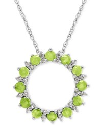 Macy's Peridot 7 8 Ct. T.W. And White Topaz 1 5 Ct. T.W. Circle Pendant Necklace In Sterling Silver