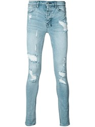 Ksubi Distressed Skinny Jeans Men Cotton 29 Blue