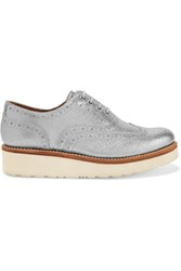 Grenson Emily Leather Brogues Silver