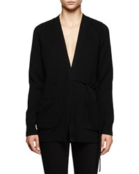 Proenza Schouler Long Sleeve V Neck Cardigan Black