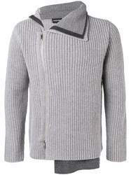 Emporio Armani Asymmetric Ribbed Knit Cardigan Grey