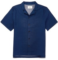 Folk Piano Camp Collar Cotton Shirt Indigo