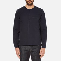 Folk Men's Collarless Long Sleeve Shirt Navy