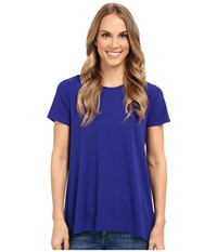 Vince Camuto Short Sleeve High Low Hem Top W Woven Back Vivid Indigo Women's T Shirt Blue