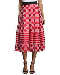 Sachin And Babi Noir Polka Dot And Striped Midi Ball Skirt Flame
