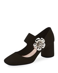 Prada Suede Mary Jane Pump W Flower Buckle Black Nero
