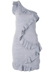 Dsquared2 One Shoulder Ruffle Dress Women Cotton Viscose L Grey