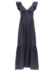Masscob Acacia Ruffled Silk Dress Blue