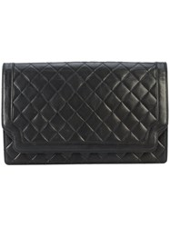Chanel Vintage Quilted Flap Clutch Black
