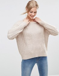 Asos Cable Sweater In Slouchy Shape Pink