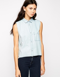 Dr. Denim Dr Denim Sleeveless Denim Shirt Blue