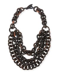 Viktoria Hayman Triple Strand Tiger Wood Link Necklace Brown