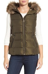 Lucky Brand Women's Hooded Puffer Vest With Faux Fur Trim