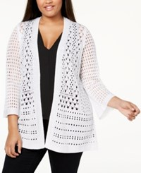 Charter Club Plus Size Crocheted Open Front Cardigan Created For Macy's Bright White