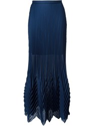 Msgm Multi Pleated Maxi Skirt Blue